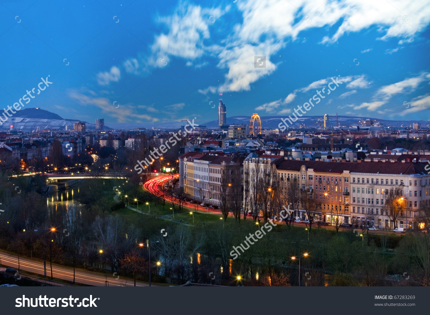 Skyline Danube Valley Vienna Night Stock Photo 67283269.
