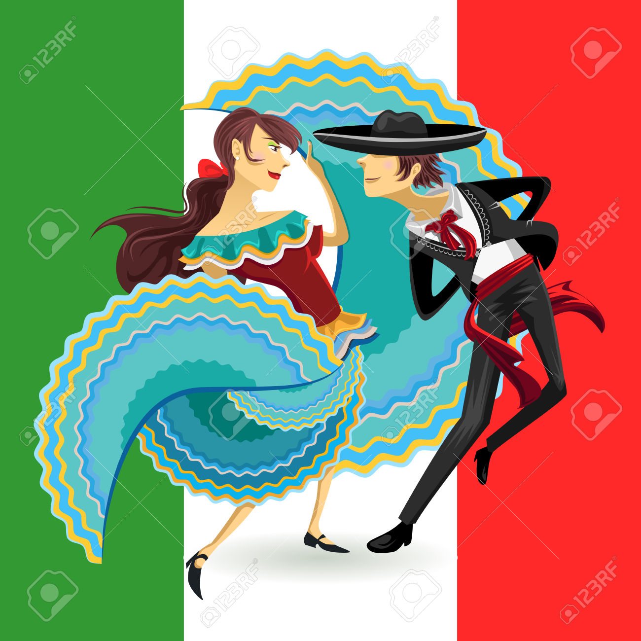 Jarabe Mexico National Dance Mexican Hat Dance Royalty Free.