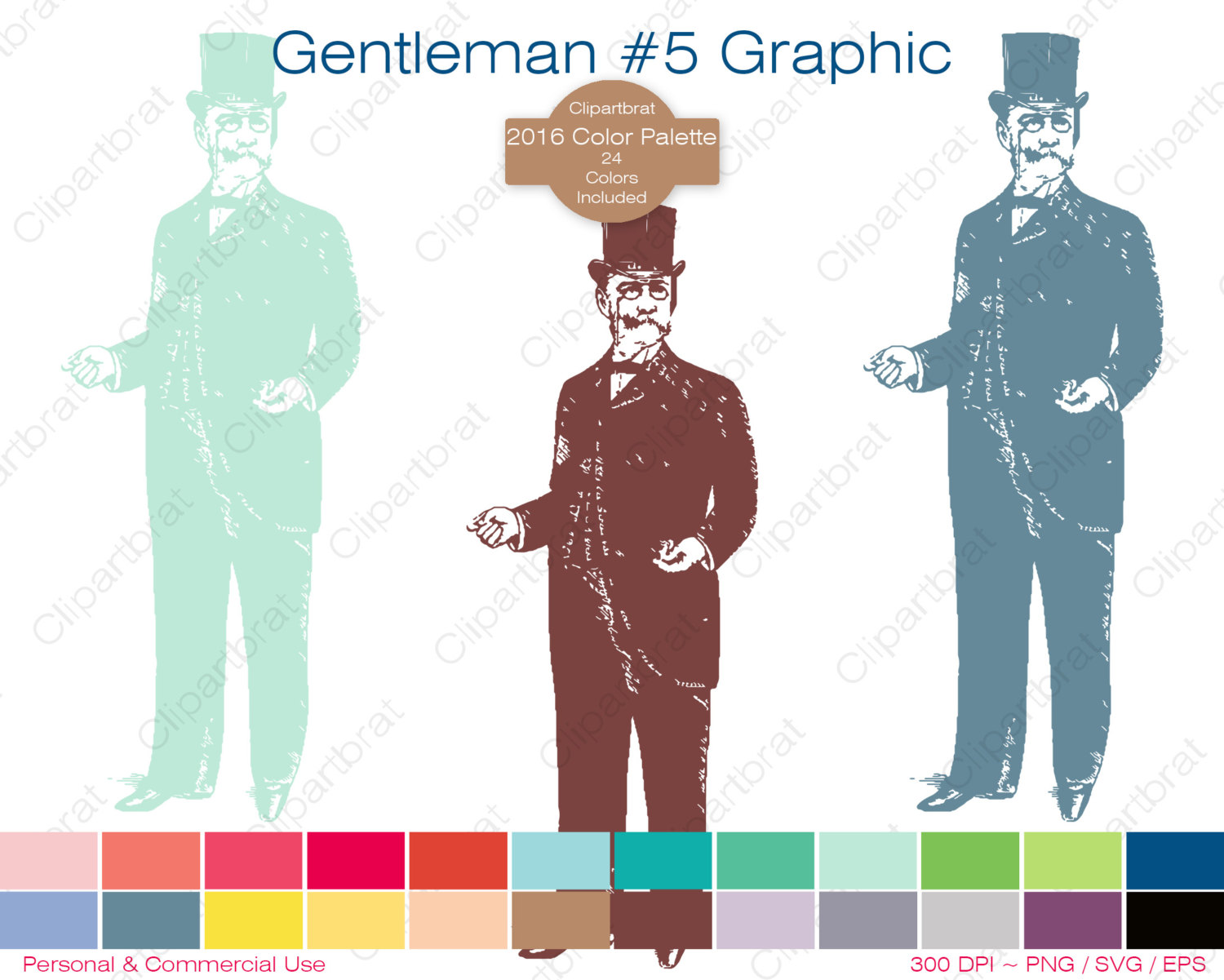 DAPPER MAN Clipart Commercial Use Clipart GENTLEMAN Graphic 2016.