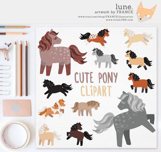 Horse Clipart. Cute Pony Clipart. Chestnut, Dapple Grey, Black.