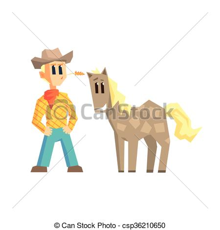 Clipart Vector of Guy And Dappled Horse Primitive Geometric.