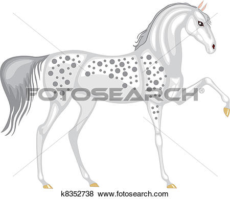 Clip Art of The gray in the dappled horse k8352738.