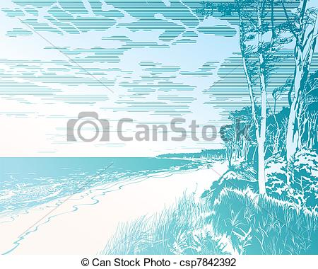 Vector Illustration of Seaside at Baltic Sea.