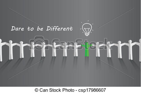 Vector Clipart of dare to be different.