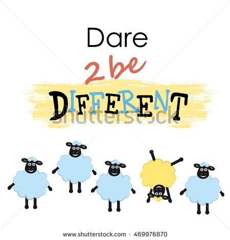 Cartoon Sheep One Sheep Different Other Stock Vector 364685732.