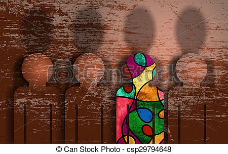 Stock Illustration of stand up dare to be different from the crowd.