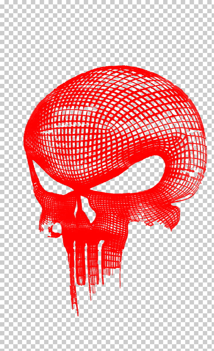 Punisher Daredevil Logo, skulls, red Punisher logo art PNG.