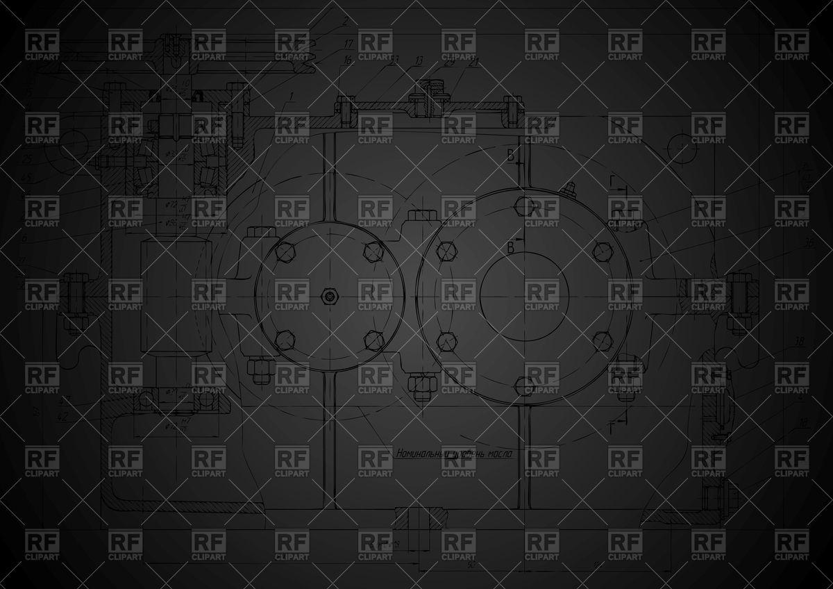 Dark abstract engineering drawing (blueprint) Vector Image #62614.