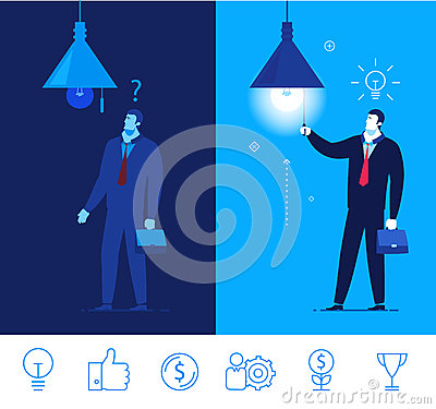 Vector Business Concept Illustration. Businessman In Dark And.