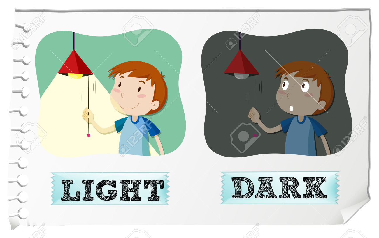 Opposite Adjectives Light And Dark Illustration Royalty Free.