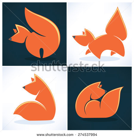 Fox Images Icons On Dark Light Stock Vector 172538219.