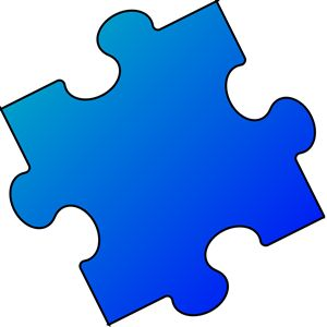 Dark Blue and Light Blue Puzzle Piece.