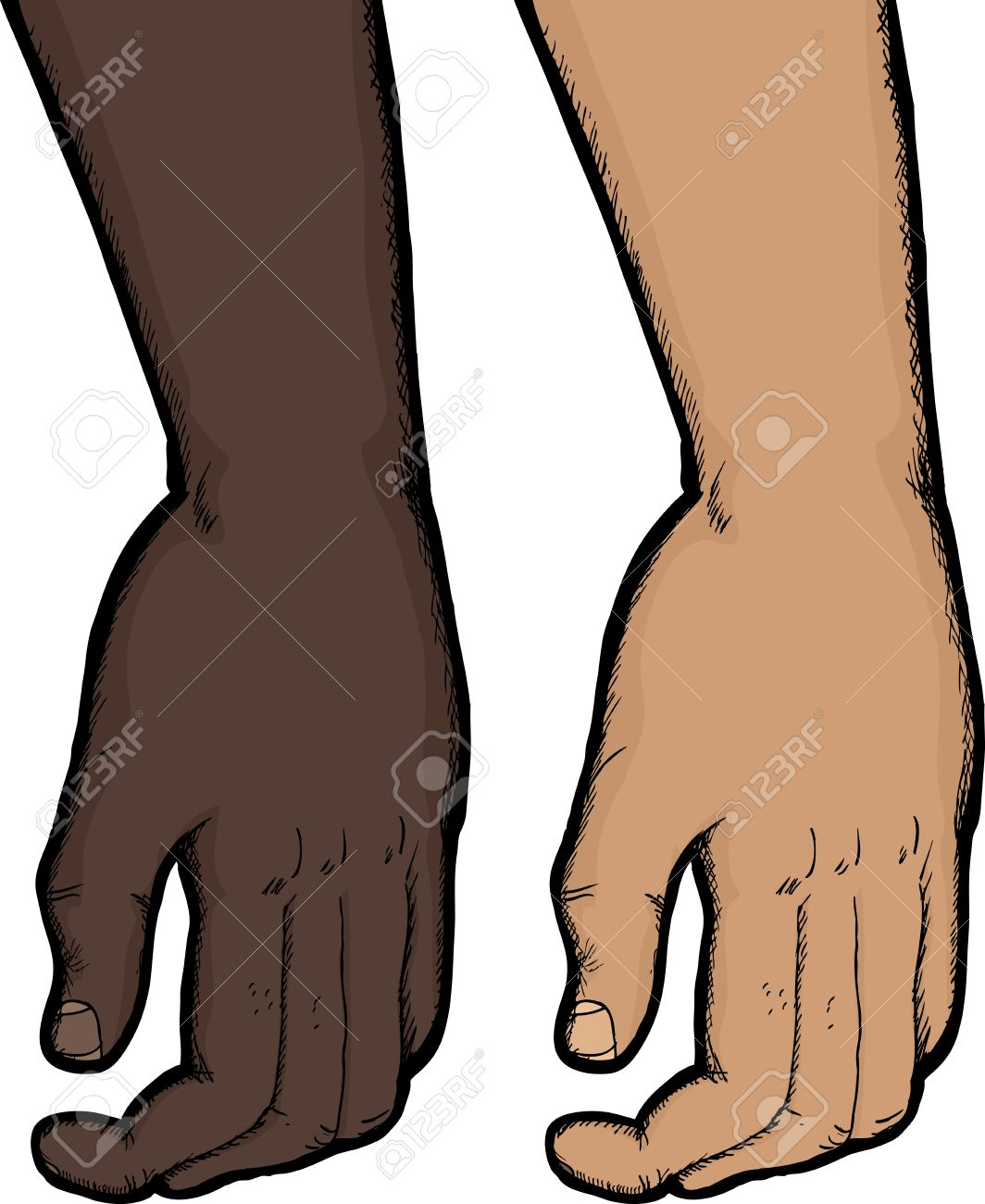 Close Up Of Relaxed Human Hand In Dark And Light Skin Tones.