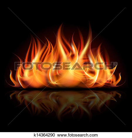 Clipart of Fire on dark background. k14364290.