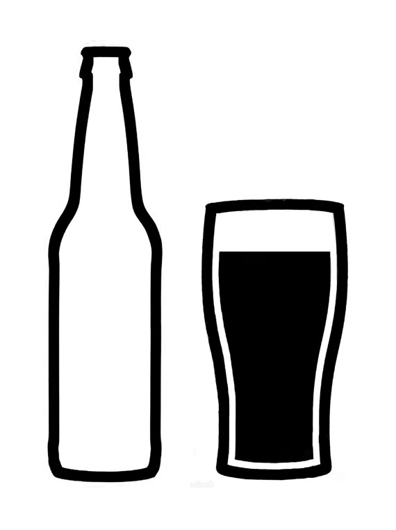 Black and white beer clipart.