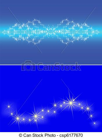 Vector Clipart of Congestion of stars in the dark blue sky, a set.