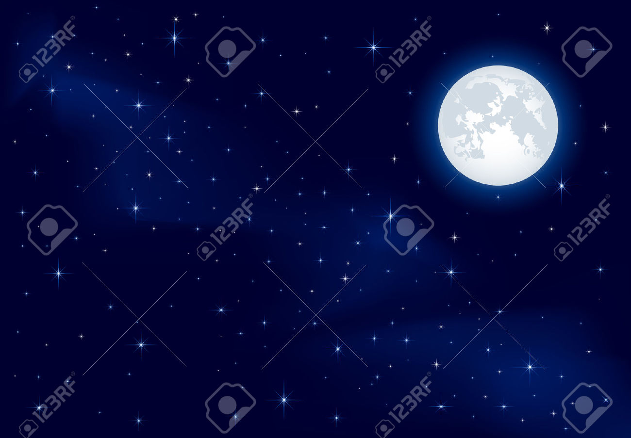 Night Background, Moon And Shining Stars On Dark Blue Sky.