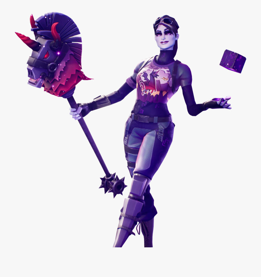Fortnite Dark Bomber Skin With Cube In Her Hands Png.
