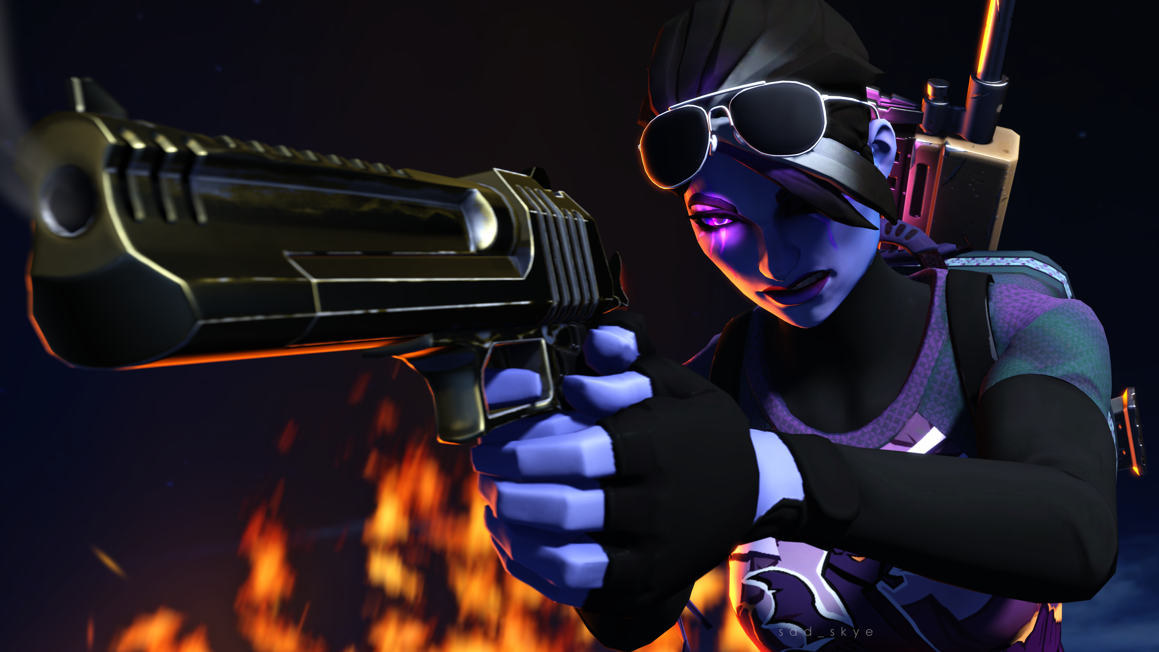 Dark Bomber W/ Golden Hand Cannon Loading Screen #1 (4K SFM.