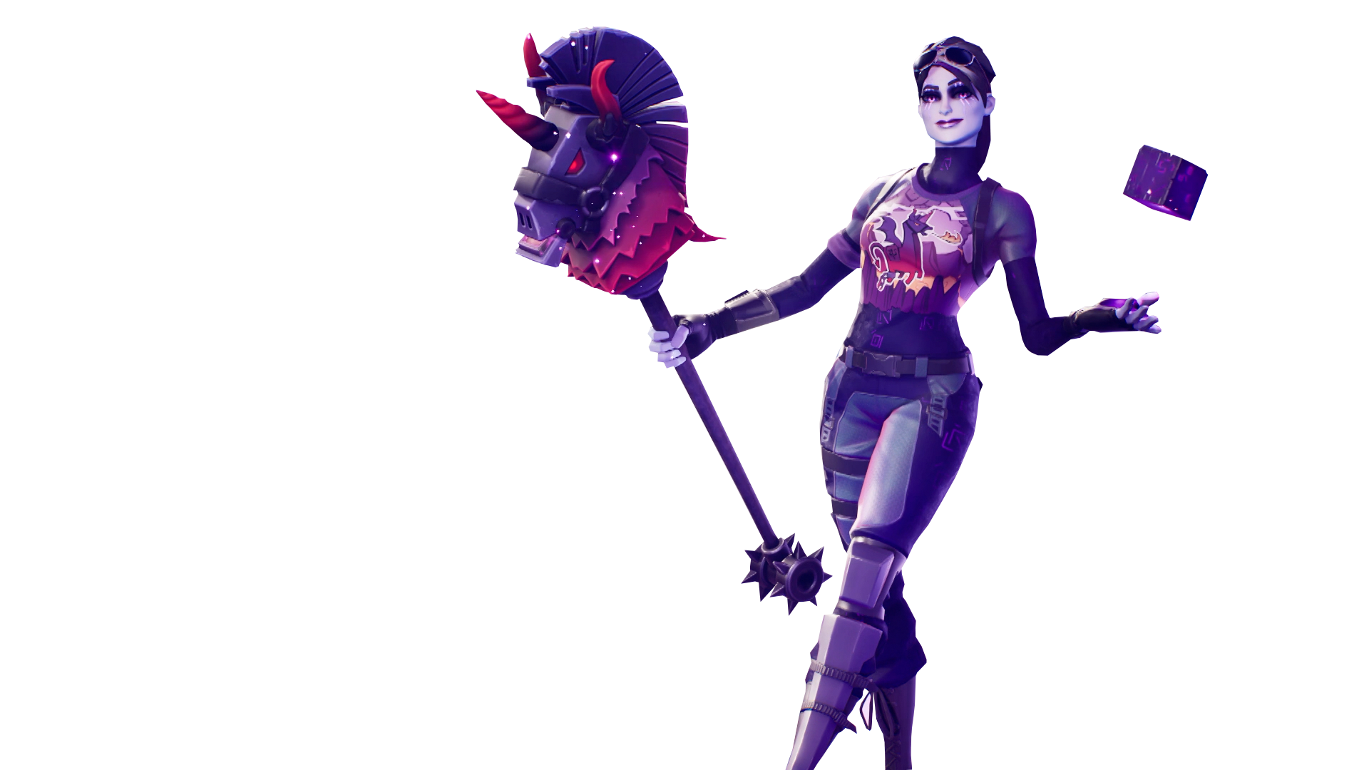 Fortnite Dark Bomber Skin with Cube in her Hands PNG Image.