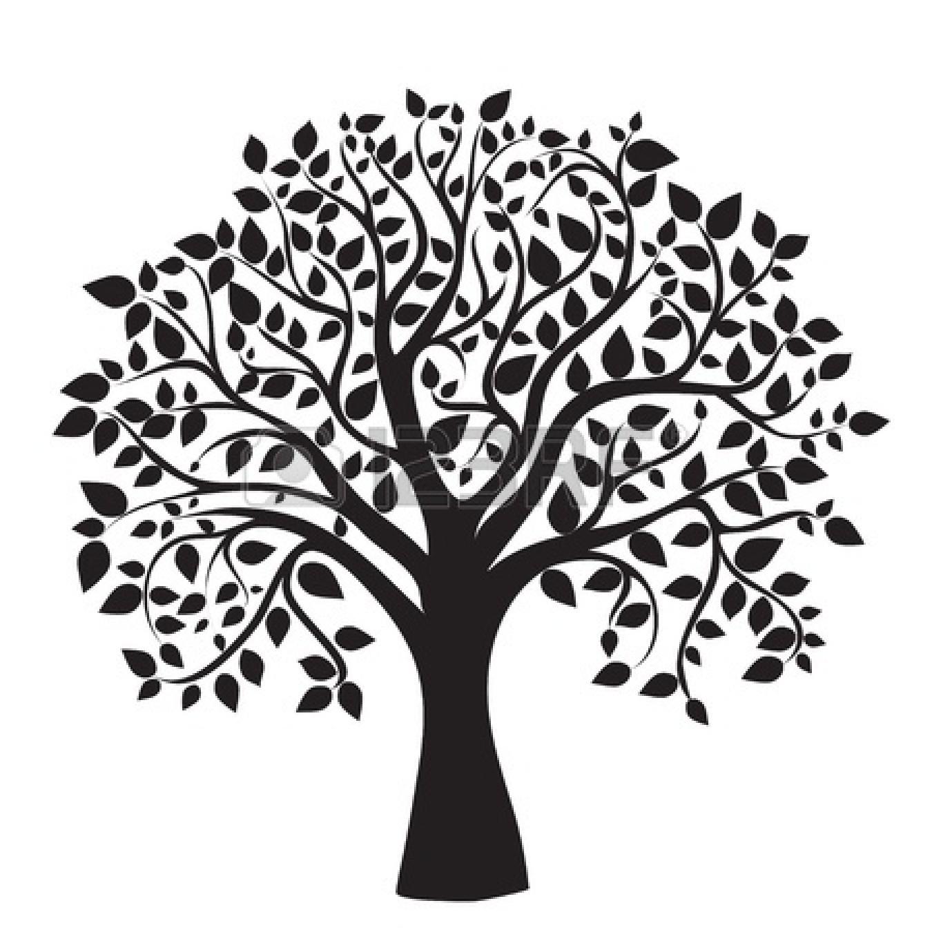 Desert tree clipart black and white.