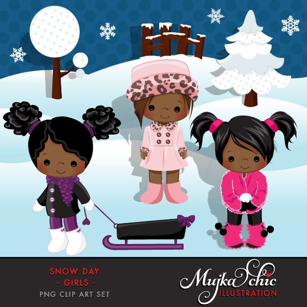 Snow Day Clipart African American Girls Instant Download Winter.
