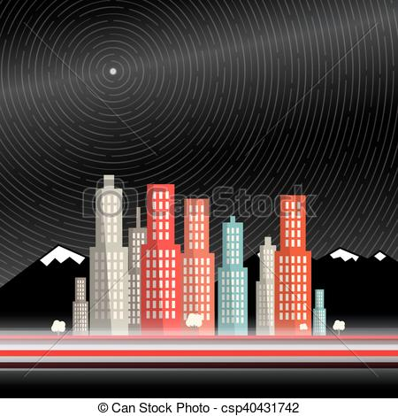EPS Vector of Long Time Exposure. Abstract Vector City with.