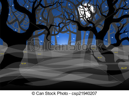 Vector Clipart of dark ghostly forest and full moon.