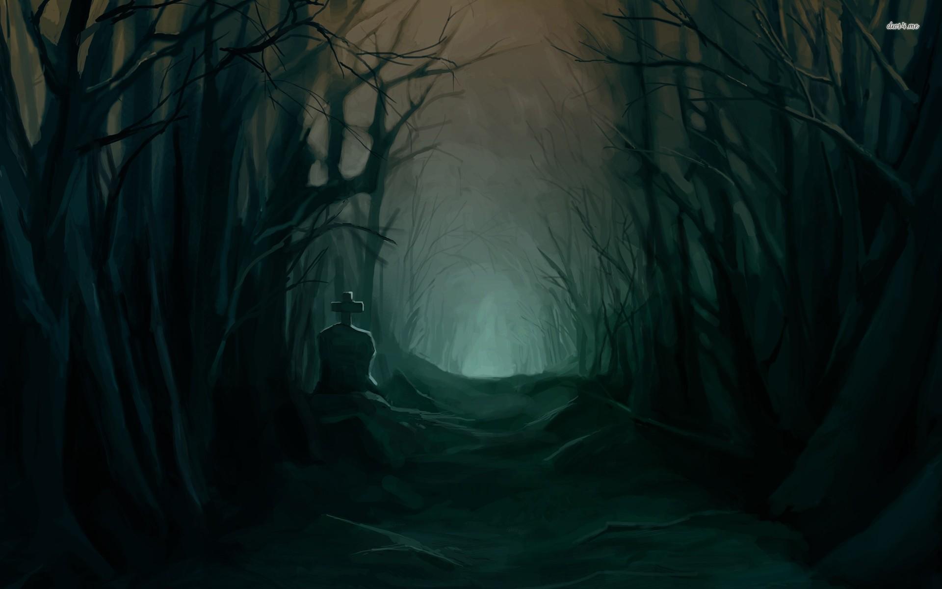Dark forest desktop clipart.