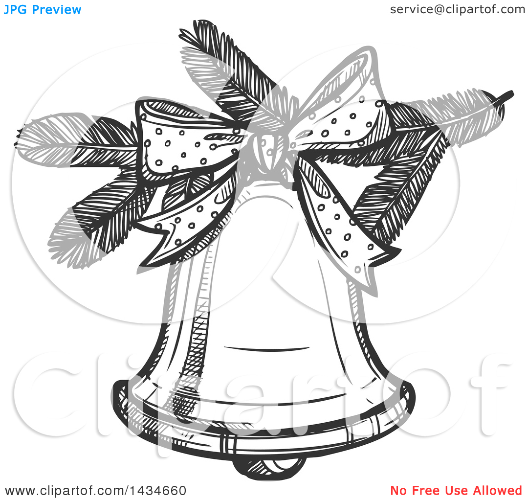 Clipart of a Sketched Dark Gray Christmas Bell.