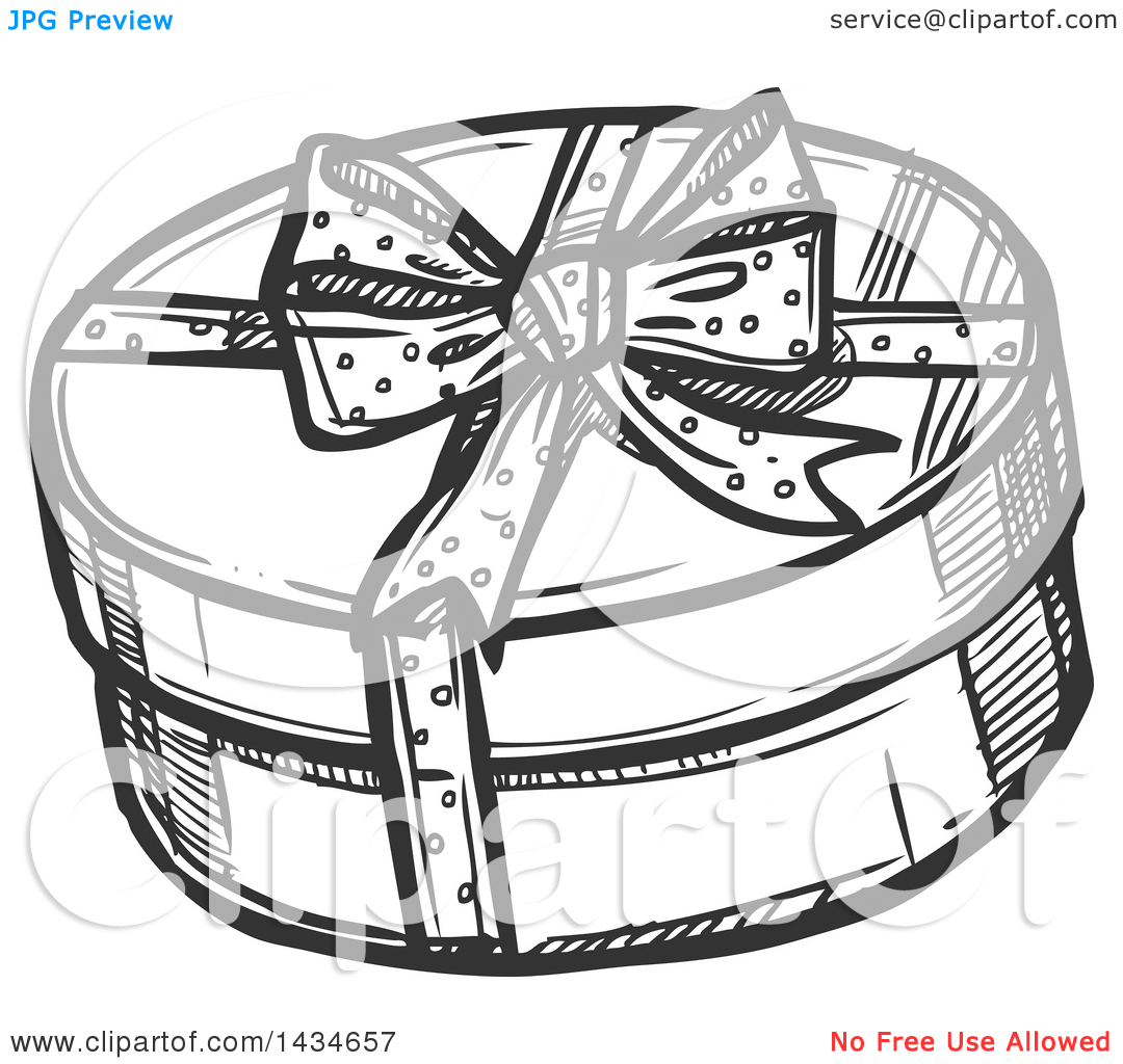 Clipart of a Sketched Dark Gray Round Christmas Gift Box.