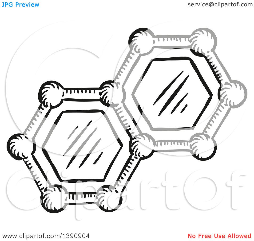 Clipart of a Sketched Dark Gray Molecules.