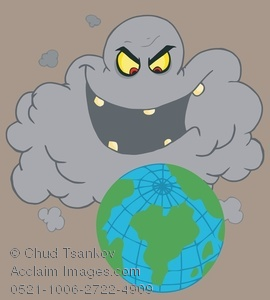 Clipart Image of A Dark Gray Storm Cloud Laughing at Planet Earth.