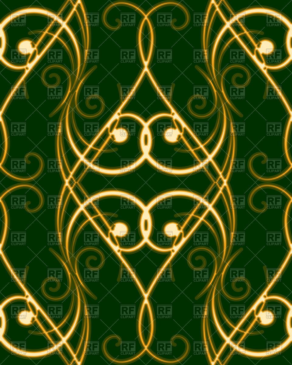 Seamless pattern with elegant golden swirles on dark green.