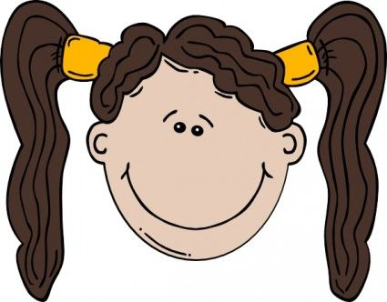 cartoon drawing of little big eyed girl with dark hair.