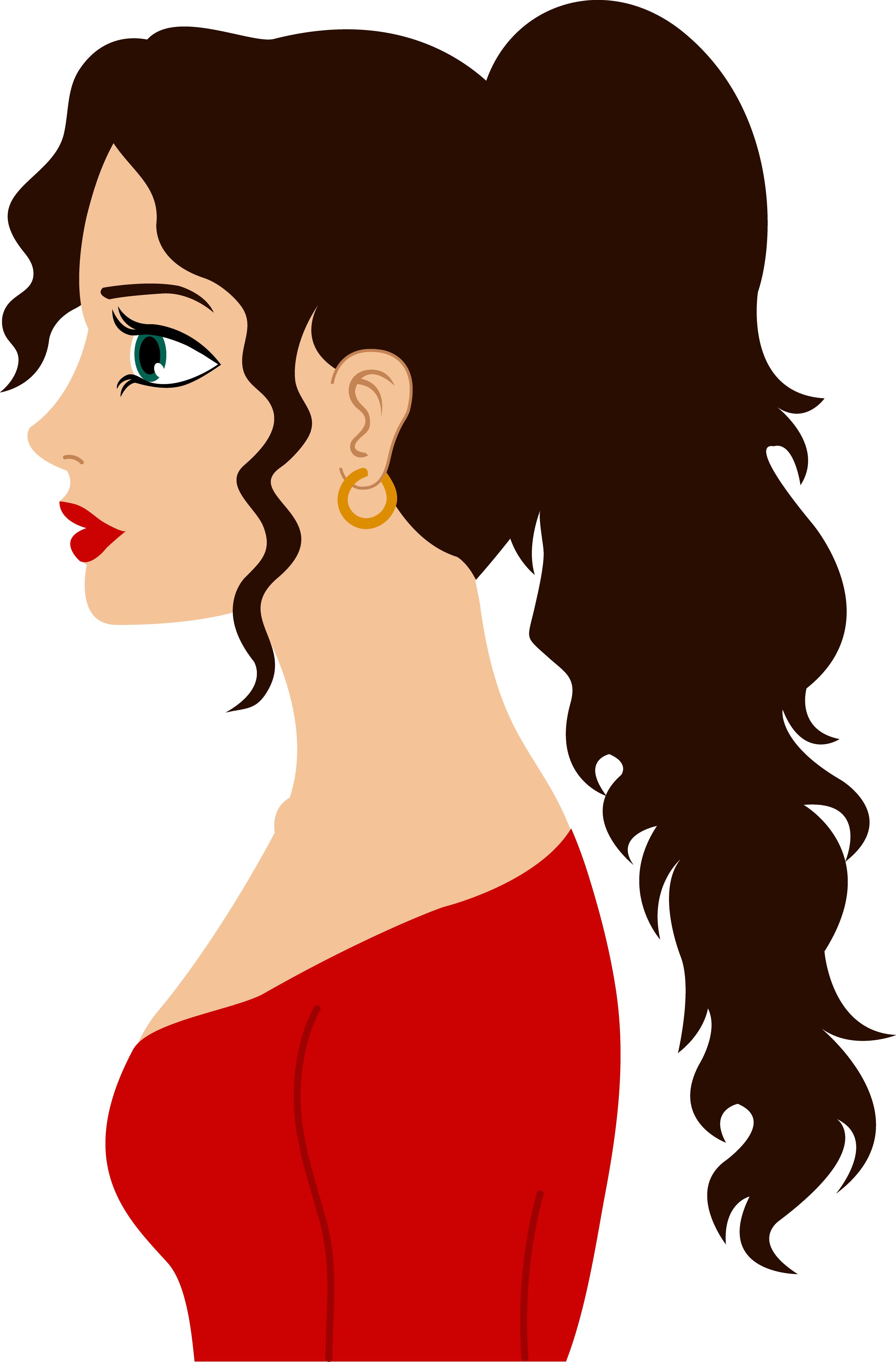 Dark brown hair clipart.