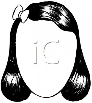 Black haired girl clipart.