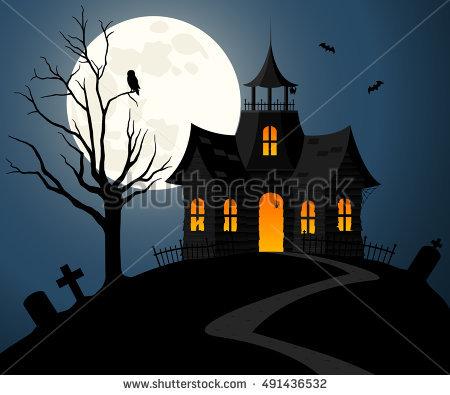 Halloween Scene Illustration Spooky Haunted Ghost Stock Vector.