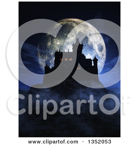 Clipart of a 3d Silhouetted Dark Halloween Castle on a Hill, with.