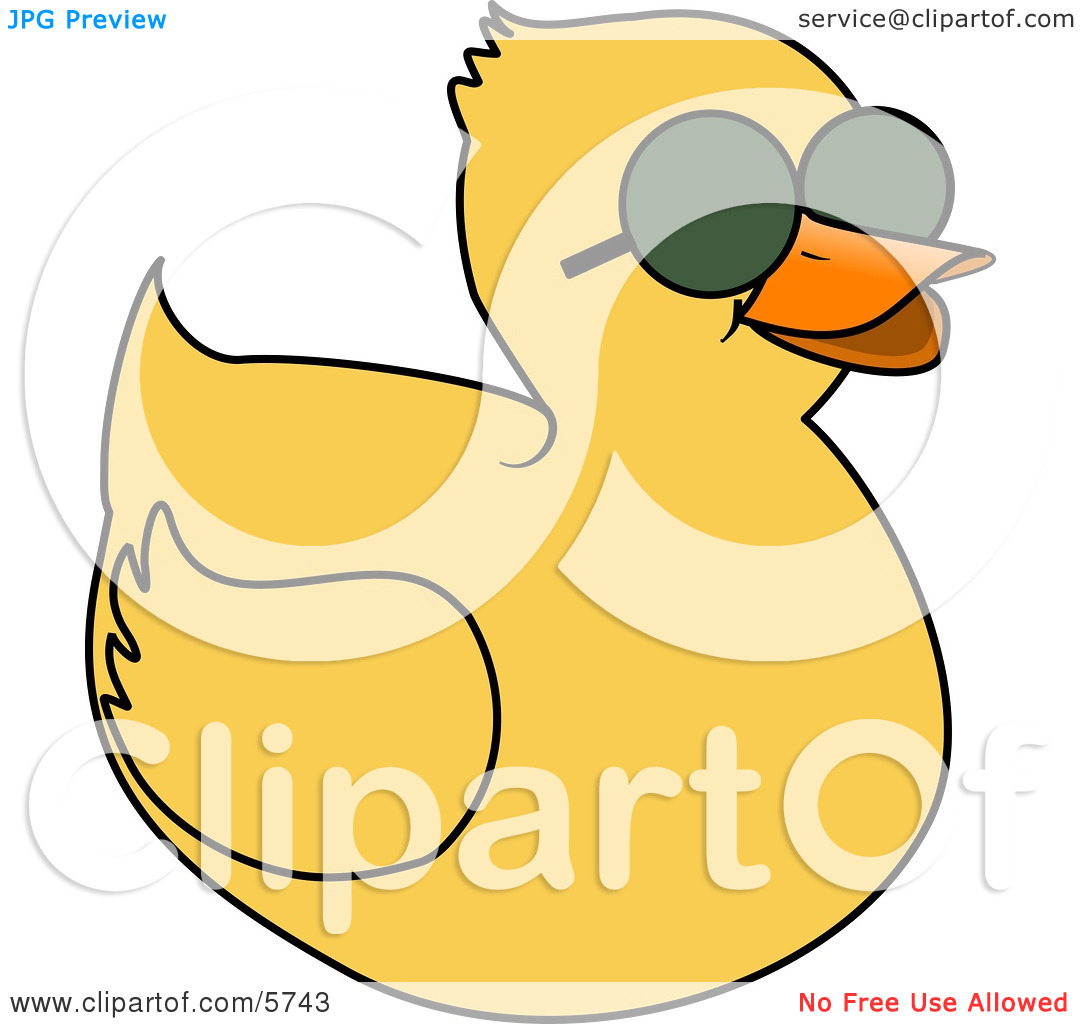 Yellow Duckling Wearing Dark Sunglasses On a Hot Sunny Day Clipart.