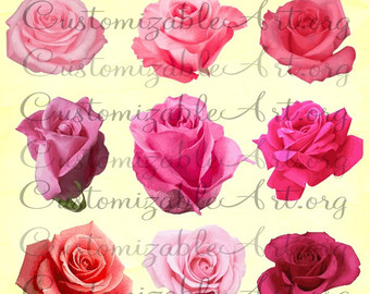 Items similar to Pink Roses Clipart Digital Pink Rose Clip Art.