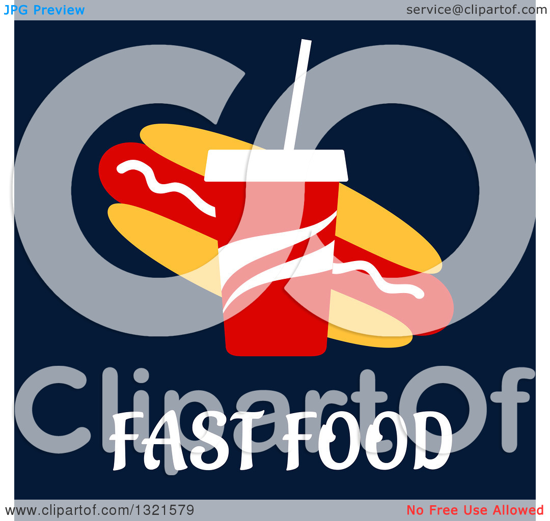 Clipart of a Flat Design Fountain Soda and Hot Dog over Fast Food.