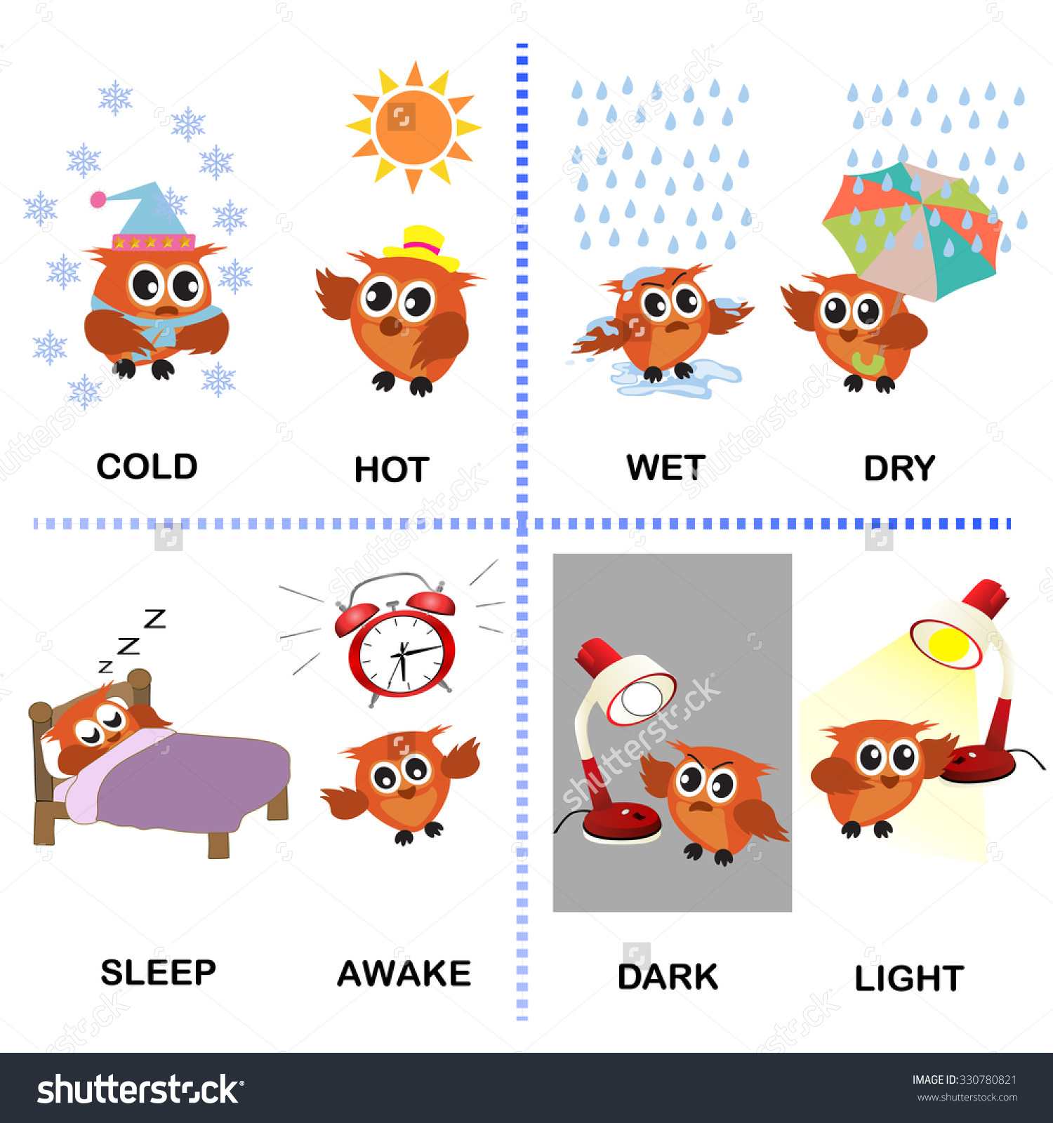 Opposite Word Vector Background Preschool Cold Stock Vector.