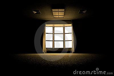 Dark Room With Window Stock Photo.