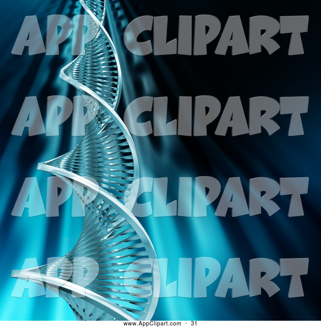 Clip Art of a DNA Double Helix Strand Twisting Upwards into Black.