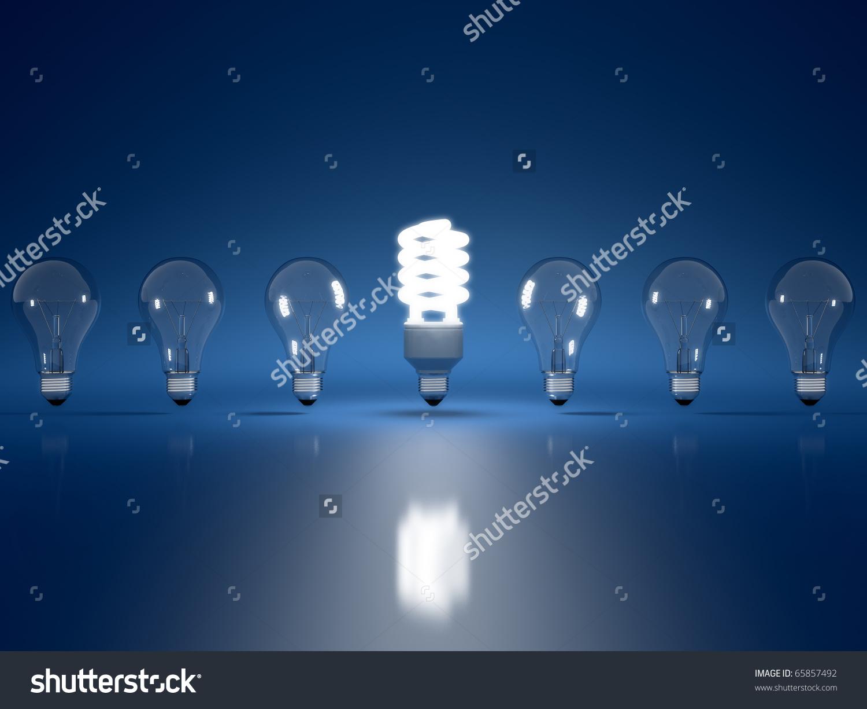 High Resolution 3d Render Of Light Bulb Clipart On Dark Blue.