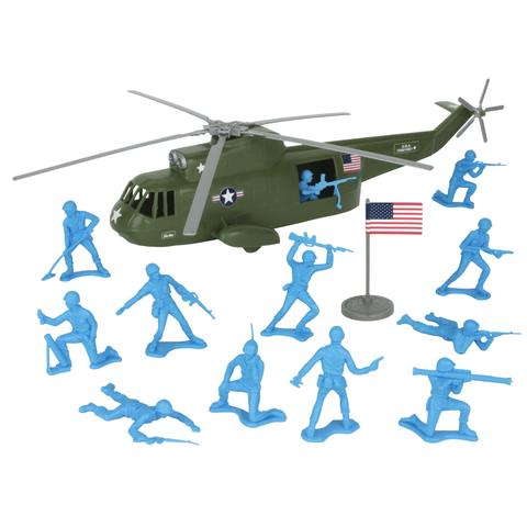 TimMee Plastic Army Men HELICOPTER Playset Olive Green 26pc USA.