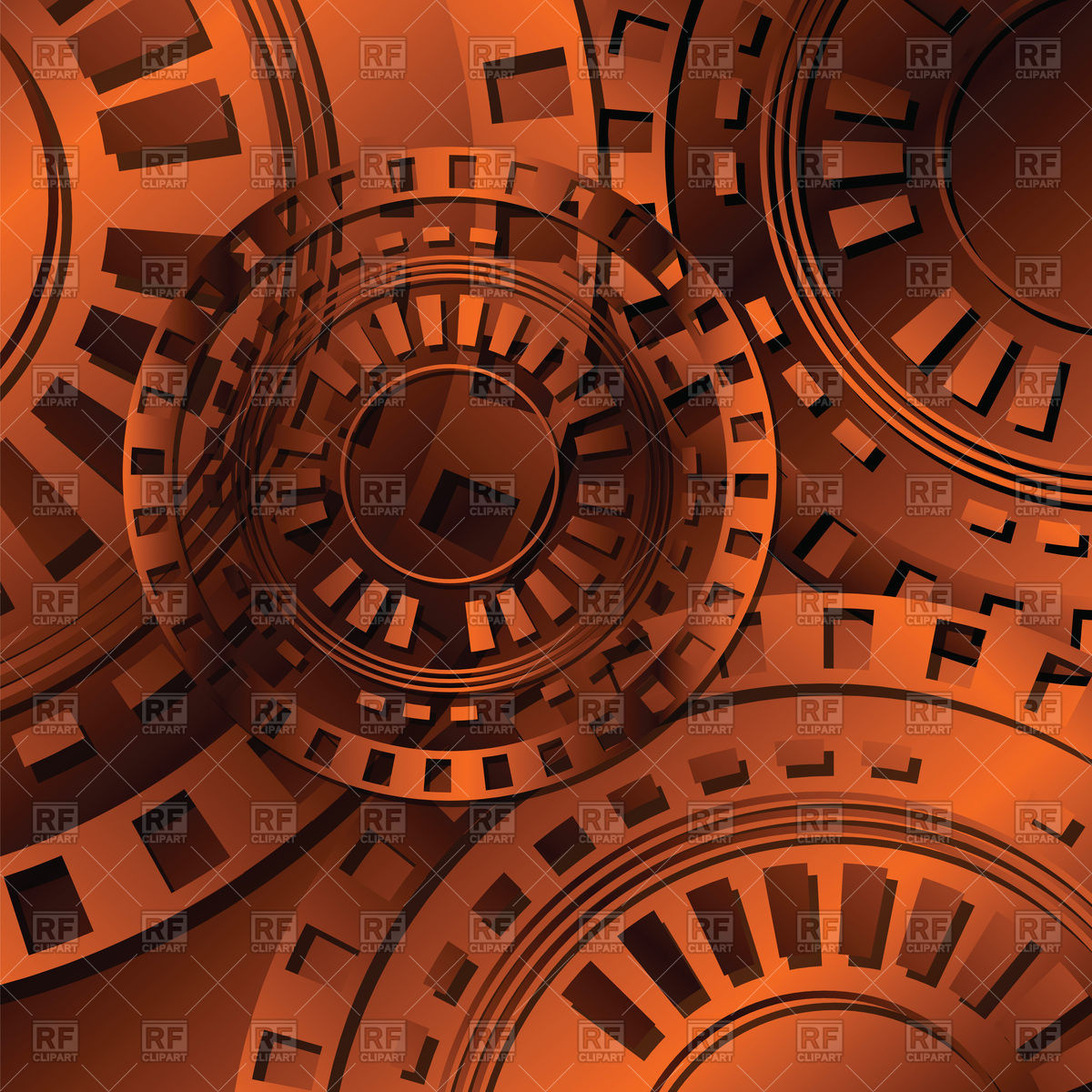 Abstract dark orange gears technology background Vector Image.
