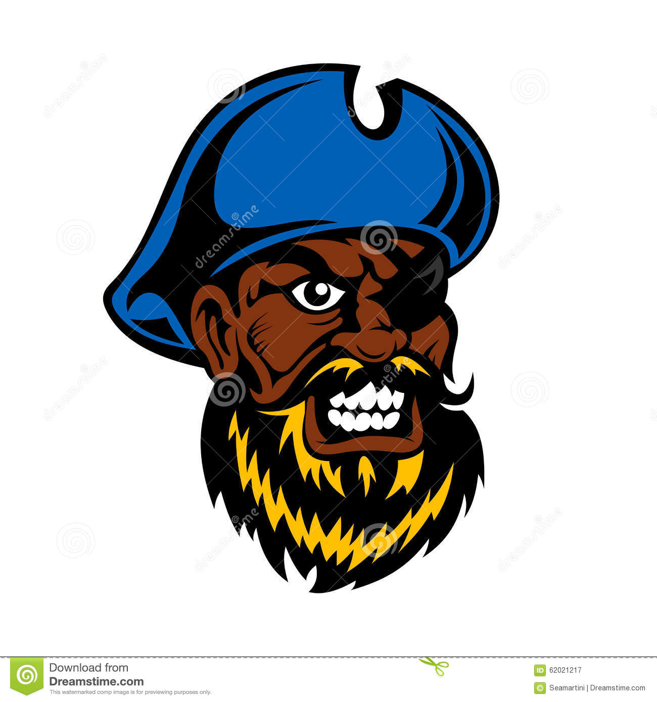 Angry Cartoon Pirate Captain With Eye Patch Stock Vector.