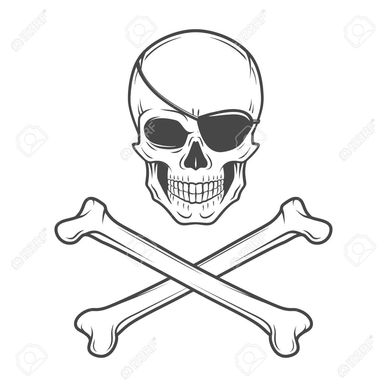 Jolly Roger With Eyepatch Logo Template. Evil Skull Vector. Dark.